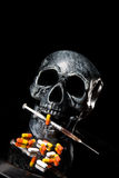 Skull. And Pills on Black Background Royalty Free Stock Photo