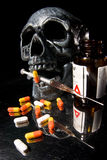 Skull. And Pills on Black Background Royalty Free Stock Photos