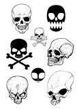 Skull. Composition of eight skull in black and white.Hand drawing.Vector image stock illustration