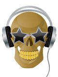 Skull. Vector illustration of skull with earphones and glasses Stock Photography
