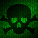 Skull against a background matrix Royalty Free Stock Photos