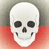Skull aged picture on black red background Stock Photography