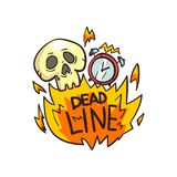 Skull, alarm clock and Deadline word in the fire, time limit vector Illustration on a white background. Skull, alarm clock and Deadline word in the fire, time Stock Photos