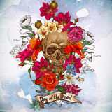 Skull And Flowers Day Of The Dead Stock Image