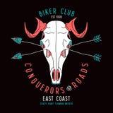 Skull animal biker club emblem Stock Photography