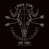 Skull animal biker club emblem Stock Photos