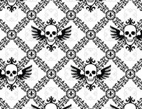 Skull Argyle Wing Pattern with Fleur De Lys Royalty Free Stock Photography