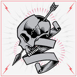 Skull Arrow and Ribbon. Skulls Old school Tattoo Style. Vector for Use royalty free illustration