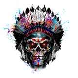 Skull art. Colorful illustration of  skull, with cun on graphic background Stock Image