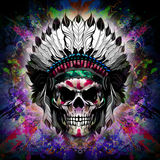 Skull art. Colorful illustration of  skull, with cun on graphic background Royalty Free Stock Image