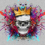 Skull art. Colorful illustration of  skull, with cun on graphic background Royalty Free Stock Photos