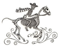 Skull art cowboy day of the dead. Stock Image