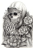 Skull art day of the dead .Hand drawing on paper. Stock Photo