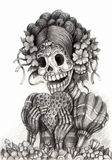 Skull art day of the dead .Hand drawing on paper. Royalty Free Stock Images