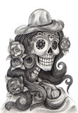 Skull art fashion model day of the dead. Royalty Free Stock Images