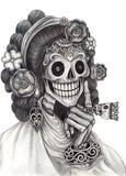 Skull art fashion model day of the dead. Stock Photos