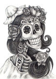 Skull art fashion model day of the dead. Stock Photo