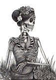 Skull art fashion model day of the dead. Royalty Free Stock Image