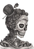 Skull art fashion model day of the dead. Stock Images