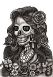 Skull art fashion model day of the dead. Stock Photos