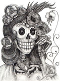 Skull Art Fashion Model Day Of The Dead. Stock Image