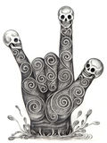 Skull art hand symbol love. Royalty Free Stock Photography