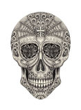 Skull art head day of the dead. Royalty Free Stock Images