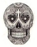 Skull art head day of the dead. Royalty Free Stock Image