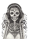 Skull art listen to music day of the dead. Royalty Free Stock Photos