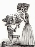 Skull art  in love day of the dead .Hand drawing on paper. Stock Photo