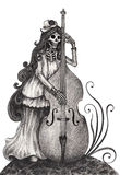 Skull art playing double bass day of the dead Stock Photography