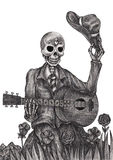 Skull art playing guitar day of the dead. Stock Photo
