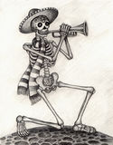 Skull art playing music day of the dead. Stock Photos