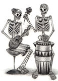 Skull art  playing music day of the dead. Stock Photography