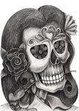 Skull art  smiley face day of the dead. Stock Photos