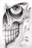 Skull art tattoo. Royalty Free Stock Image