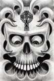 Skull art tattoo. Stock Photos