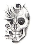 Skull  art tattoo. Royalty Free Stock Images