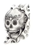 Skull art tattoo. Stock Photography