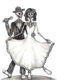 Skull art wedding day of the dead. Royalty Free Stock Photo