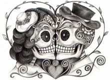 Skull art wedding day of the dead. Art design skull wedding day of the dead festival hand pencil drawing on paper