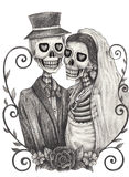 Skull art wedding day of the dead. Art design women and men skull smiley face wedding day of the dead festival hand pencil drawing on paper Stock Photo