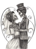 Skull art wedding day of the dead. Art design women and men skull smiley face in love wedding day of the dead festival hand pencil drawing on paper stock illustration