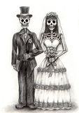 Skull art wedding day of the dead .Hand drawing on paper. Stock Image