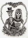 Skull art wedding day of the dead .Hand drawing on paper. Stock Photography