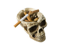 Skull Ashtray, Anti Smoking Stock Photo