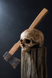 Skull and axe Royalty Free Stock Images