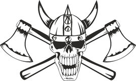 Skull and axes. Skull in a helmet of the Viking with the crossed axes Stock Photos