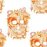 Skull background with ornament Khokhloma.seamless pattern. watercolor illustration. royalty free illustration