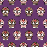 Skull background. Skull simple vector seamless background on purple background, graphic design for halloween wrapping paper Royalty Free Stock Photo